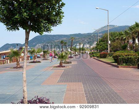 Alanya - Cleopatra beach. Long boardwalk and bike path . Turkey