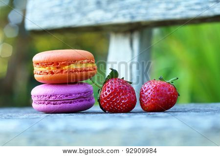 Colorful Macaroons With Fresh Strawberry
