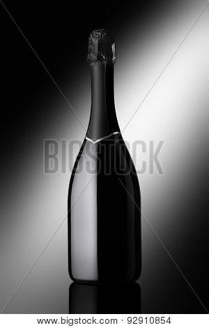 Bottle Of Sparkling Wine On A Black Background