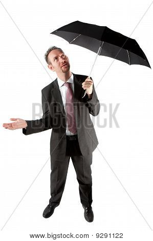 Businessman Checking If It Is Raining