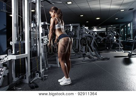 Nice Sexy Woman Doing Triceps Workout