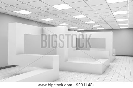 Abstract 3D White Empty Office Room Interior