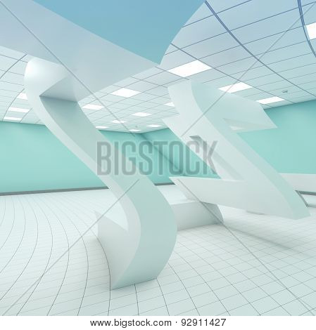 Abstract Bent White Empty Room Interior 3D Surreal