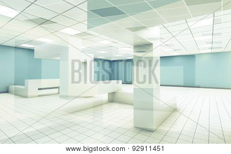 Office Interior With Chaotic Geometric Constructions, 3D
