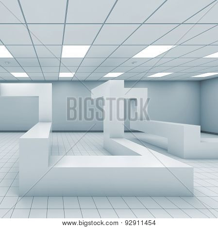 Abstract Monochrome 3D Empty Office Room Interior