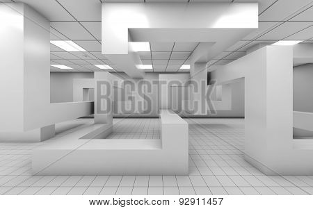 Office Interior With Chaotic Geometric Installation, 3D