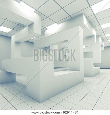Abstract Empty Office Room Interior 3D Art