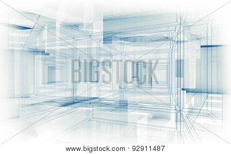 Abstract Hi-tech Background. White Interior 3D