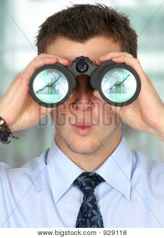 Business Man Watching His Business Finances Grow