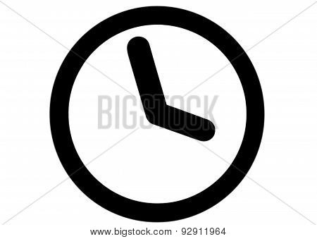 Watch, Black Clock Icon On White Background