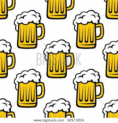 Fresh beer tankard seamless pattern