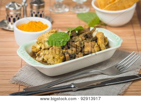 Stew Chicken In Curry With Mushrooms