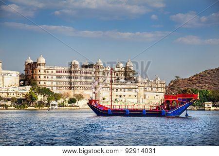 Boat On Pichola Lake Near City Palace