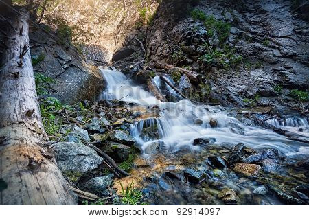 Mountain Waterfall In Kazakhstan
