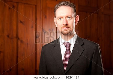 Businessman Portrait With Wood Panels