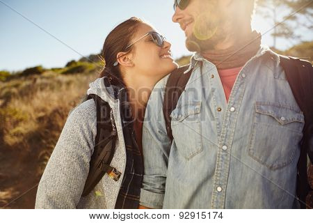 Hiker Couple Enjoying In Nature