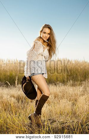 Sunrise Shot Of A Beautiful Young Model On Meadow