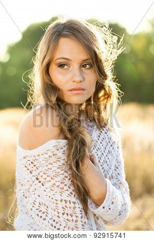 Beautiful Lady Model In Field At Sunrise