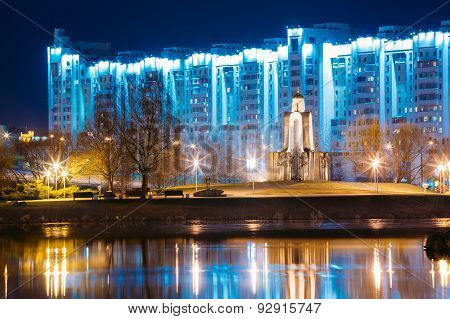 Night scene of Island of Tears In Minsk, Downtown Nemiga