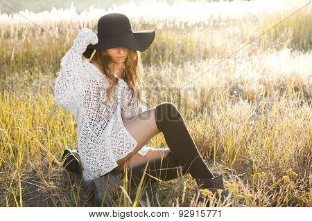 Sunrise Shot Of A Beautiful Lady Model On Meadow