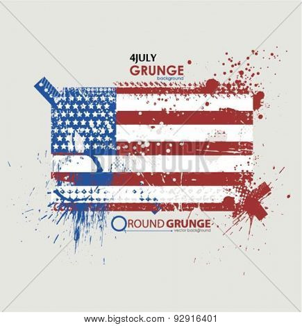July fourth. Grunge background vector. Grunge print for t-shirt. Abstract dirt backgrounds texture. Grunge banner with an inky dribble strip with copy space. Background Grunge American flag for party