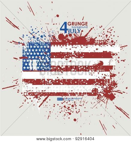 July fourth. Grunge background vector. Grunge print for t-shirt. Abstract dirt backgrounds texture. Grunge banner with an inky dribble strip with copy space. Abstract Grunge American flag