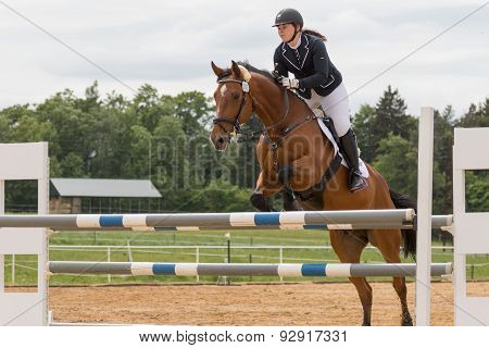 Horsewoman In Black Jacket Jumping On Brown Horse