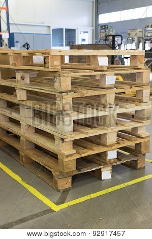 Wooden Pallets In Interior Of Factory