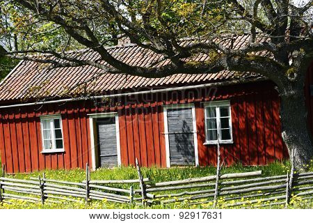 old farm and barn with oak tree, culture from Sweden