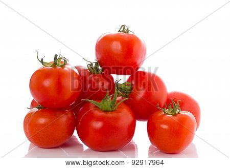 Fresh Red Tomatoes Isolated Over White Background
