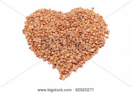 Heart Shaped Buckwheat Isolated On White Background