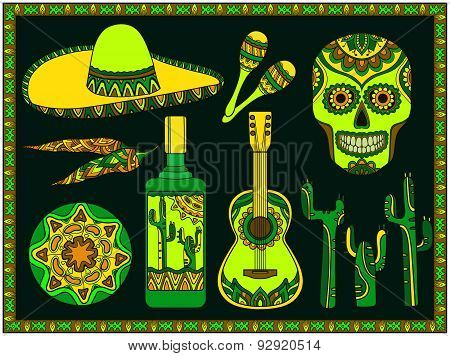 Vector set of traditional mexican symbols: guitar, cactus, tequila, chili pepper, maracas, sombrero,