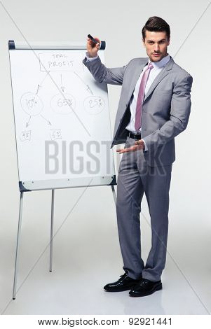 Full length portrait of a handsome businessman making presentation on flipchart over gray background