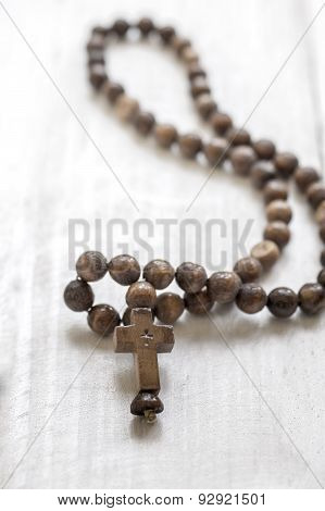 Wooden Rosary Beads And Cross