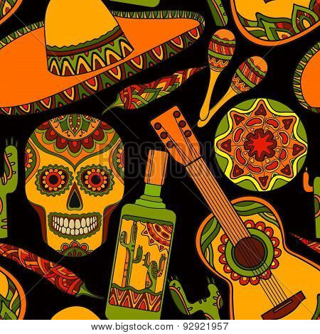 Vector seamless pattern with traditional mexican symbols: guitar, cactus, tequila, chili pepper, mar