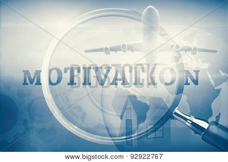 Graphic airplane against magnifying glass showing motivation word