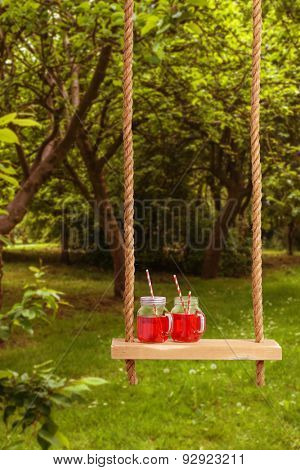 Summer drinks on rope swing in the park