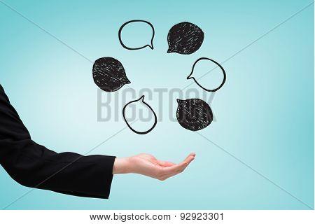 Businesswomans hand presenting against blue vignette background