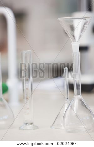 Test tube and beaker in laboratory