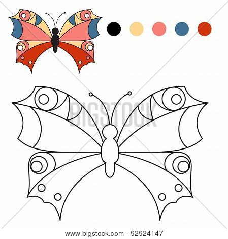 Coloring book. coloring butterfly for kids in a journal or textbook.