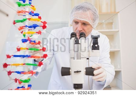 Scientist examining dna helix and looking in microscope in the laboratory