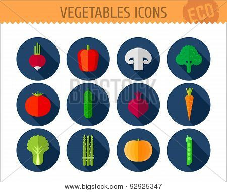 12 Vegetable Flat Icons