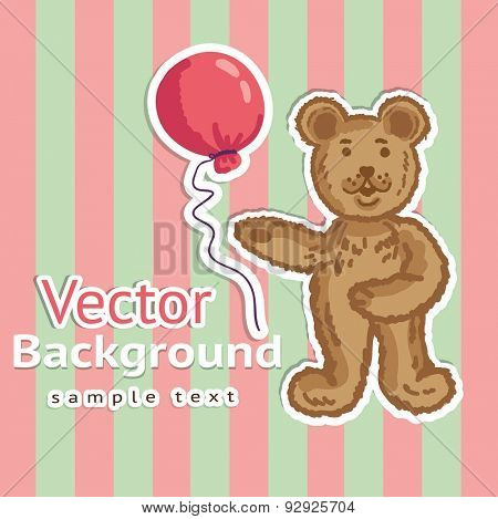 Teddy Bear with balloon striped background.