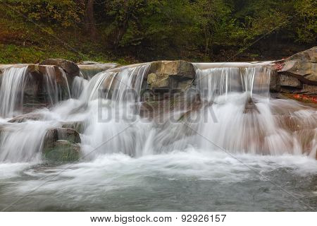 Fragment Of Waterfall On Small Mountain River