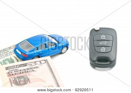 Dollar Notes, Blue Car And Car Keys