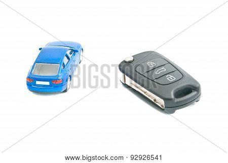 Car Keys And Blue Car