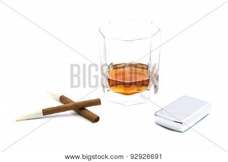 Cigarillos, Lighter And Cognac