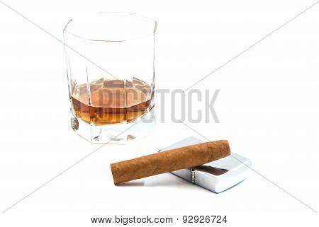 Cigar, Glass Of Cognac And Metal Lighter