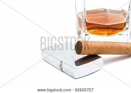 Cigar, Glass Of Cognac And Lighter