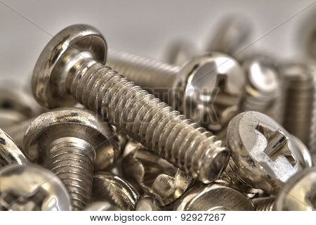 Stacked of chrome bolts